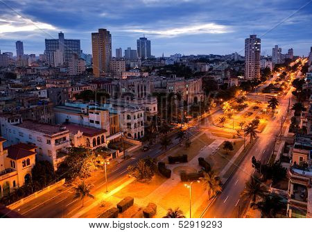 Cuba. Night Havana. The top view on the avenue Presidents.