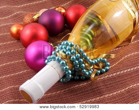 Champagne Bottle With Christmas Balls And Diamonds