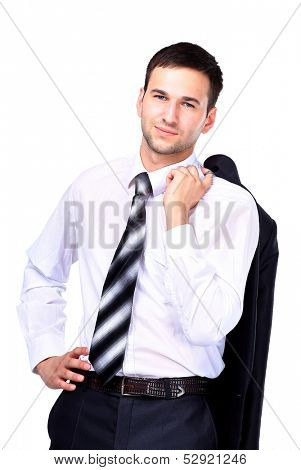 Business man relaxing, isolated over white