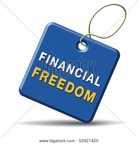financial freedom and economic independence debt free icon.