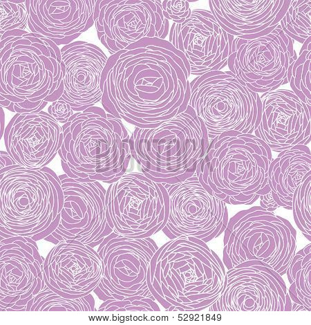 Romantic seamless floral pattern. Wedding texture with pink ranunculus. Copy square to the side and you'll get seamlessly tiling pattern. Invitation design.