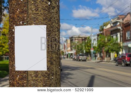 Blank poster on a wood post