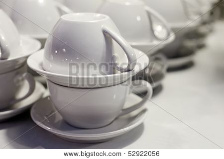 White Cups And Saucers