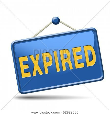 expired sign expiration date for expired product or food
