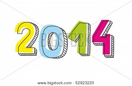 New Year 2014 hand drawn doodle vector sign or number symbol draft with yellow, blue, pink and green