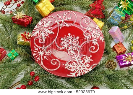 Christmas Decorations with plate