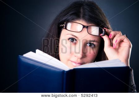Business Woman Reading The Book