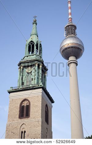 Marienkirche Church And Fernsehturm Television Communication Tower, Berlin
