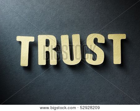 The word Trust in cut out paper letters on paper background