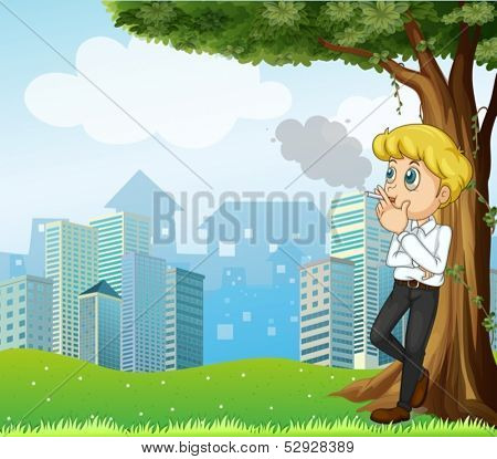 Illustration of a boy smoking under the tree across the buildings