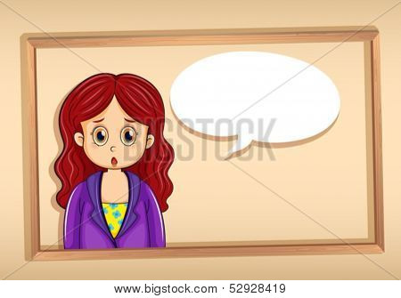 Illustration of a woman inside a frame with an empty callout