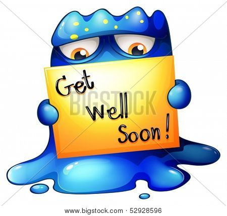 Illustration of a blue monster holding a get-well-soon card on a white background