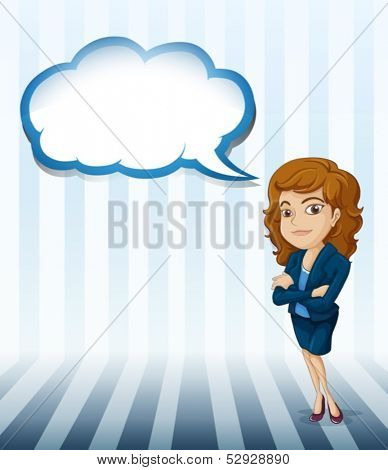 Illustration of a woman with an empty cloud callout on a white background