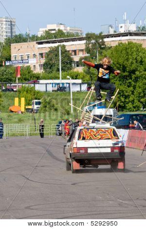 Moscow,russia - 06 June, 2008:stantman Vasiliy Sparov Making Tri