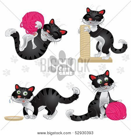 Playful funny black cats in different situations isolated on whi