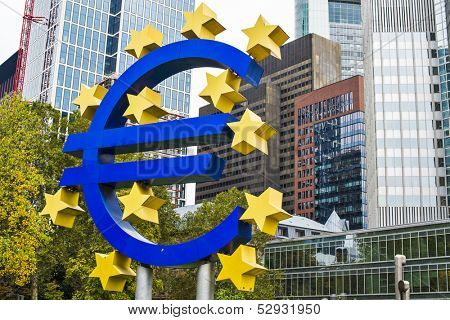 FRANKFURT - OCTOBER 4: The Euro Sign October 4, 2013 in Frankfurt, Germany. The sign is part of Eurotower which serves as the seat of the European Central Bank.