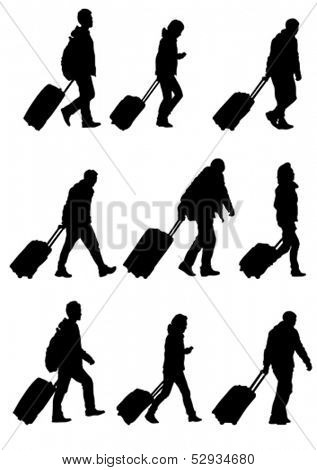 Vector drawing crowds of people whit travel suitcases