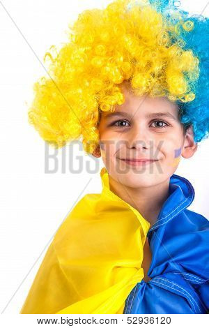 Football Fan With  Ukrainian Flag On A White Background