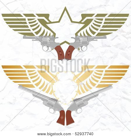 The star icon with wings and revolvers