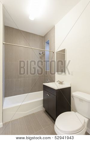 Clean empty bathroom in an apartment