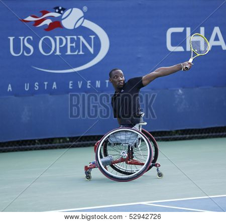 Tennis player Lucas Sithole from South Africa during US Open 2013 wheelchair quad singles match