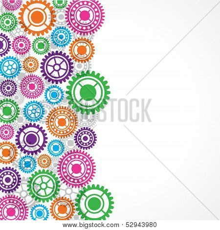 Colorful gears background stock vector