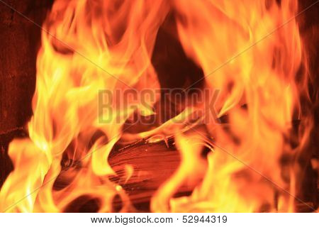 Firewood With Intence Flames