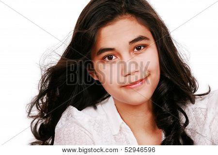 Beautiful Biracial Teen Girl Smiling, Isolated
