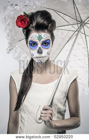 Day Of The Dead Girl With Sugar Skull Makeup Holding Lace Umbrella