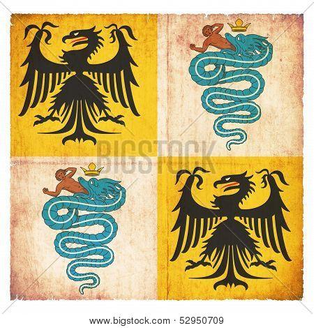Grunge Flag Duchy Of Milan 1450 (italy)