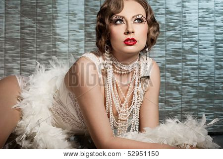 fashionable woman with art visage - burlesque