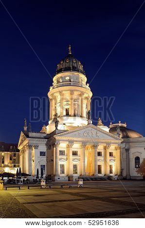 The German Cathedral On Gendarmenmarkt At Night