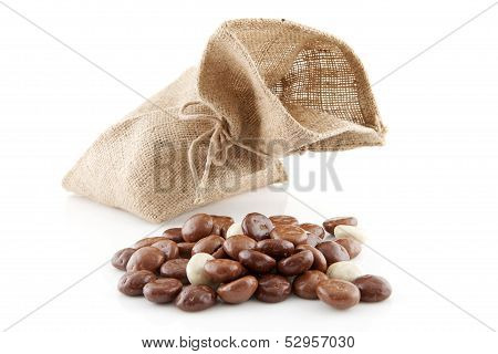 Jute Bag With Typical Dutch Sweets: Chocolate Pepernoten (ginger Nuts)
