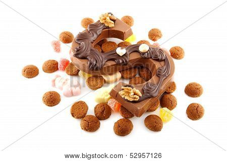 Decorated Chocolate Letter S For Sinterklaas With Ginger Nuts