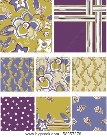 Modern Floral Seamless Vector Patterns.  Use as fills for digital paper or fabric projects.