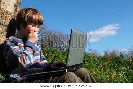 Wow! (child With Notebook Sit Blue Sky )