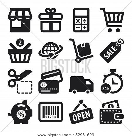 Shopping Flat Icons. Black