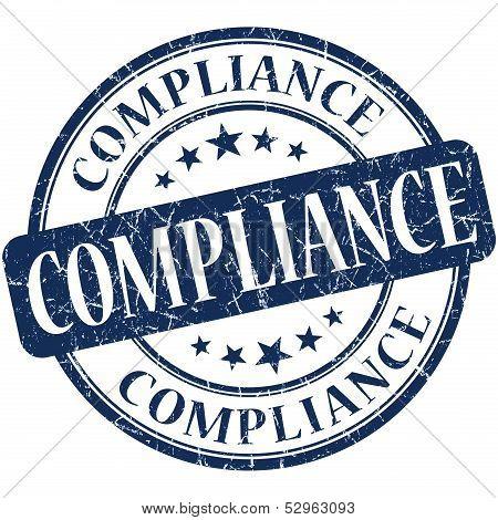 Compliance Grunge Blue Round Stamp