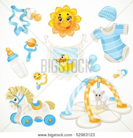 Set of blue baby toys objects clothes and things