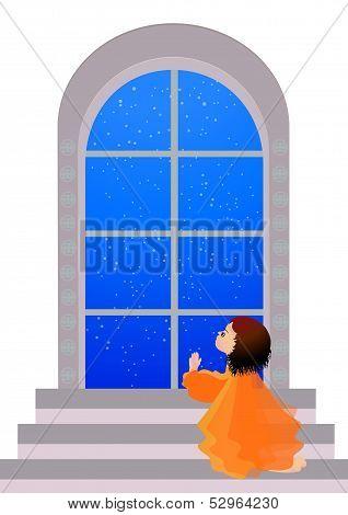 Beautiful little girl praying