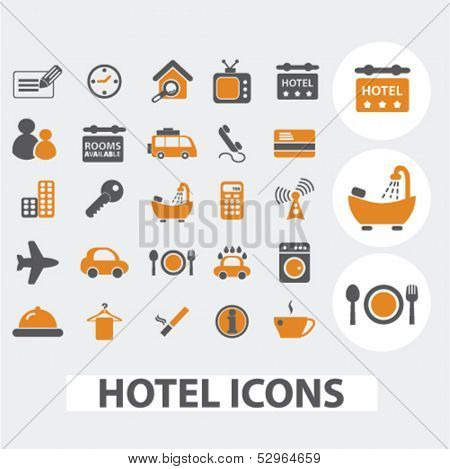 hotel icons set, vector