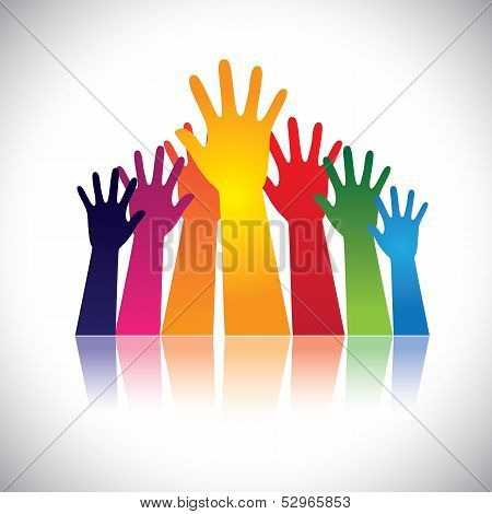 Colorful Abstract Hand Vectors Raised Together Showing Unity