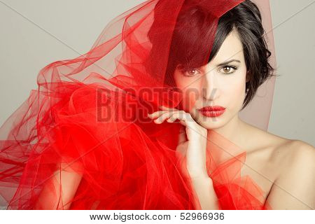 Beautiful Girl With A Red Tulle. Studio Photograph