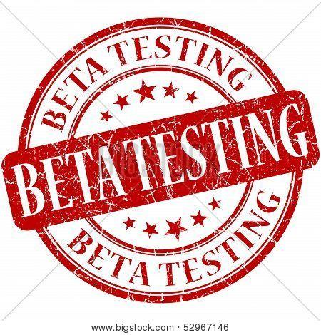 Beta Testing Grunge Red Round Stamp