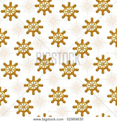 Vector Illustration Of The Seamless Pattern Of Boat Wheel Isolated On Whte Background.