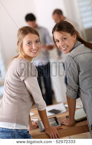 Student girls doing internship in company