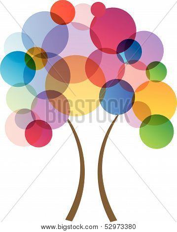 Tree Of Life- Fractal tree with colorful dots