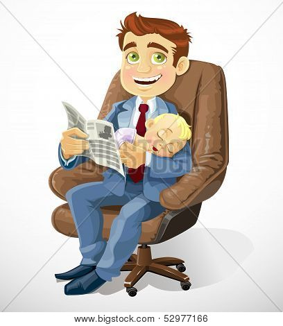 Business dad with sleep baby in an office chair and read busines