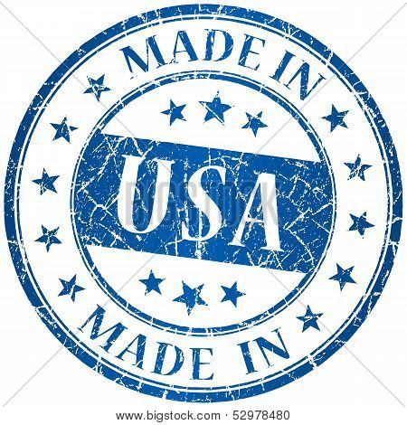 Made In Usa Vector Round Blue Stamp