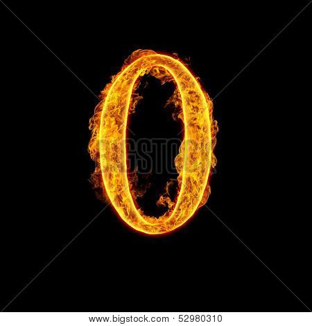 Fire alphabet number 0 zero isolated on black background.